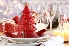 Table setting for Christmas Stock Photography