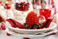 Table setting for Christmas Royalty Free Stock Image