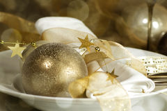 Table setting with Christmas decorations Royalty Free Stock Photography