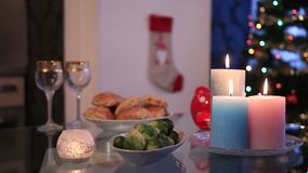 Table setting with Christmas decorations stock footage