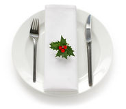 Table setting for christmas dinner stock photo