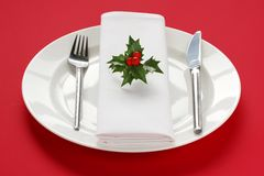 Table setting for christmas dinner Stock Photos