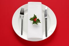 Table setting for christmas dinner stock photos