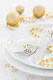 Table setting for christmas. With golden decoration Royalty Free Stock Photography