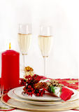 Table setting  for Christmas meal. Stock Photo