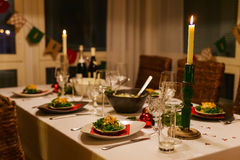 Table setting for Christmas party Stock Photo