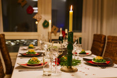 Table setting for Christmas party Royalty Free Stock Photography