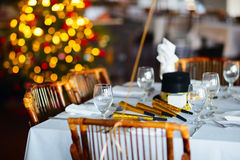 Table setting for Christmas party Stock Image