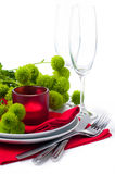 Table setting with chrysanthemums Stock Photos