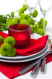Table setting with chrysanthemums Royalty Free Stock Photo