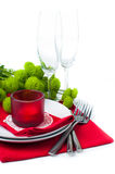 Table setting with chrysanthemums Royalty Free Stock Images