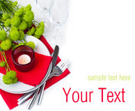 Table setting with chrysanthemums, ready template Stock Photos