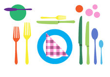 Table setting. Colorful of tableware Stock Photos