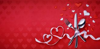 Table Setting Cutlery And Red Heart stock photos