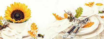 Table setting decoration for autumn holiday Stock Photo