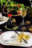 Table setting decoration for Christmas celebration Royalty Free Stock Photos