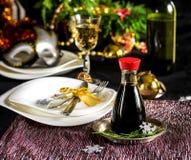 Table setting decoration for Christmas celebration Stock Photos