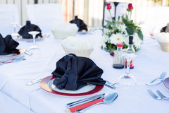 Table setting for dinner in black and white Stock Photos
