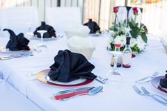 Table setting for dinner in black and white Royalty Free Stock Photography