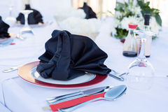 Table setting for dinner in black and white Royalty Free Stock Photo