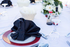 Table setting for dinner in black and white Royalty Free Stock Image