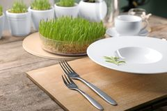 Table setting for dinner in cafe Royalty Free Stock Photos