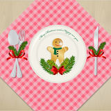 Table setting for dinner Christmas. Stock Image