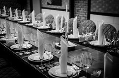 Table setting for dinner. Black and white photography Royalty Free Stock Photo