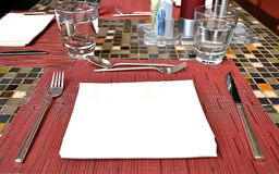 Hotel table setting. Dinner table setting in a hotel Royalty Free Stock Photo