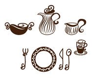 Table setting, dishes stock illustration