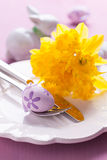 Table setting for easter. With daffodils Stock Images