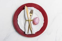 Table setting for Easter on marble background stock image