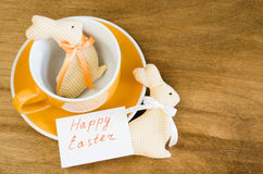 Table Setting for Easter. Spring Time. Holidays background. Royalty Free Stock Photography