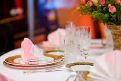Table setting for an event party Stock Image