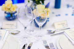 Table setting for an event party Stock Photo