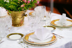 Table setting for an event party Royalty Free Stock Image