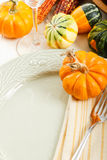 Table Setting with Fall Decoration Stock Images