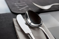 Table setting for fine dining royalty free stock image