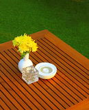 Table setting with flower in restaurant Royalty Free Stock Images