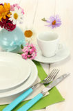 Table setting with flowers Royalty Free Stock Images