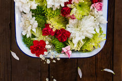 Table Setting with Flowers  in the Box Royalty Free Stock Photo