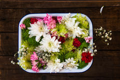 Table Setting with Flowers  in the Box Stock Images
