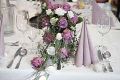 Table setting with flowers Stock Images