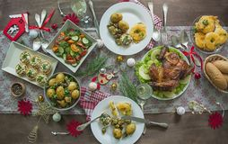 Table Setting For Christmas, New Year. Plate, Vintage Cutlery On The Table. New Year`s Holidays. Flat Lay. View From Above Stock Image