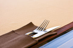 Table setting with fork, knife, and napkin Stock Photography