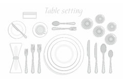 Table setting. Formal table setting. The plan for the cutlery on the table. Vector illustration stock illustration