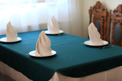 Table setting for four persons Stock Photo