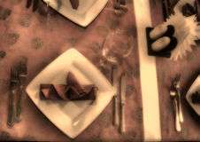 Table setting. fragment. old photos Royalty Free Stock Images