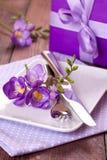Table setting with freesia Stock Photos