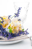 Table setting with freesias Royalty Free Stock Photo